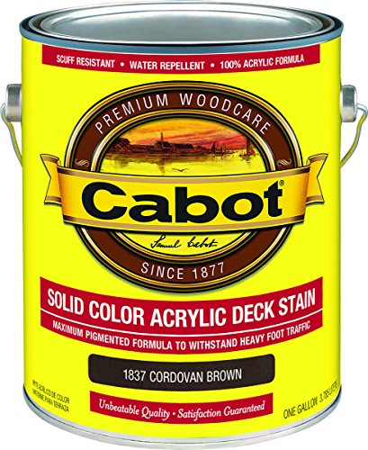Cabot/Valspar 1837-07 Solid Color Acrylic Deck Stain Cordovan Brown - Gallon - Quantity 4 Cabot Solid Color