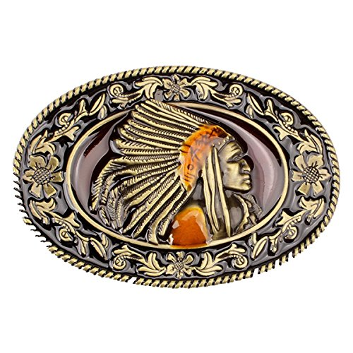 Warrior Belt Buckle - Vintage Indian Warrior Chief Belt Buckle Cowboy Native American Western (IW-07G)