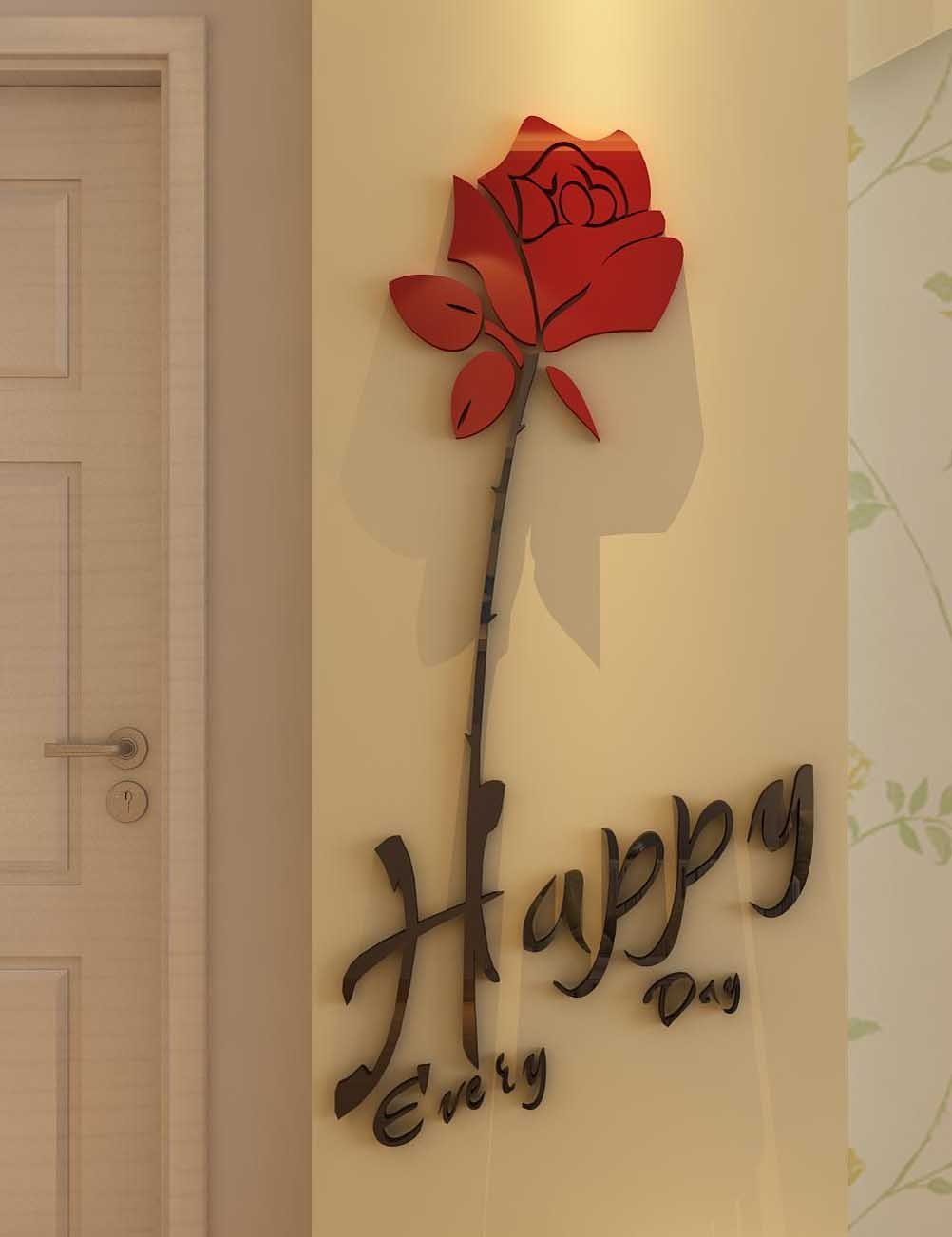 3d Roses Happy Every Day Wall Stickers & Murals Wall Decals Wallpaper Wall Decorate Wall Décor Decorative Painting Supplies Living Room bedroom,Originality Stickers Gift, DIY by DecorSmart