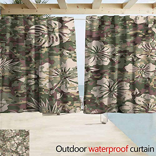 AndyTours Rod Pocket Top Blackout Curtains/Drapes,Camo Aloha Hawaiian Tropical Jungle Forest Hibiscus Flowers Leaves Nature,Simple Stylish Waterproof,W55x45L Inches,Baby Pink Green Dark Brown