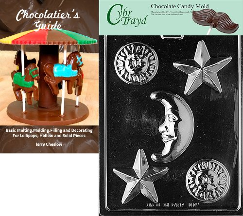 CybrtraydCelestial Assortment Miscellaneous Chocolate Candy Mold with Chocolatiers Guide Instructions Book Manual