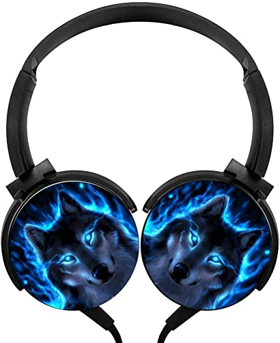 CTWUVS ADPR Blue Fire Wolf Wired Headphones Headsets Foldable Over Ear for Boys Girls Black