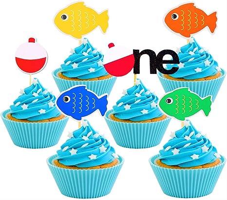 Astonishing Amazon Com 30 Pcs Jevenis The Big One Cake Topper Gone Fishing Funny Birthday Cards Online Overcheapnameinfo