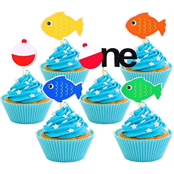 Super Jevenis Fishing Birthday Cake Topper Gone Fishing Cupcake Toppers Funny Birthday Cards Online Elaedamsfinfo