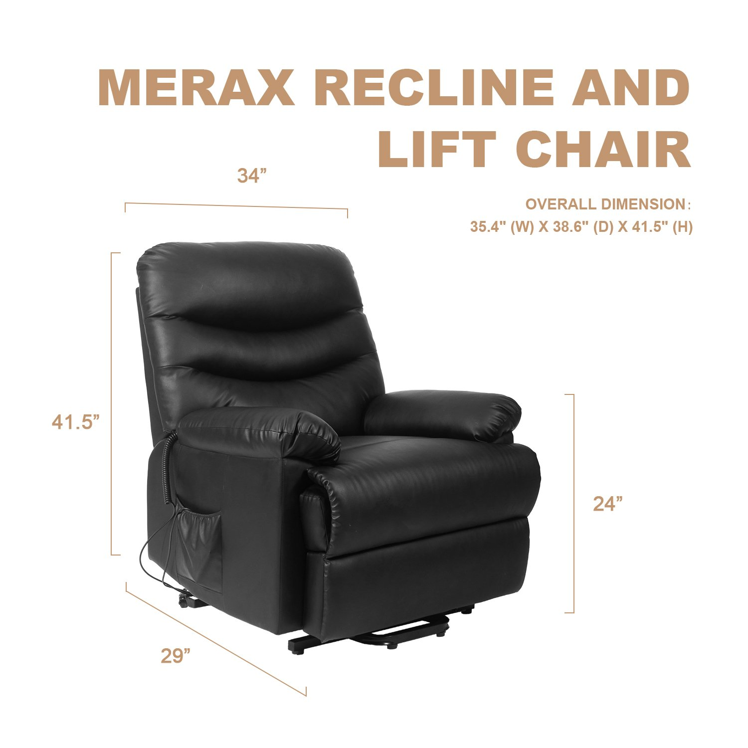 Amazon Merax Power Recliner and Lift Chair in Black PU