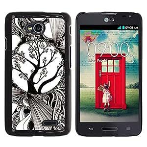 For LG Optimus L70 / LS620 / D325 / MS323 Case , White Art Blossoming Tree - Diseño Patrón Teléfono Caso Cubierta Case Bumper Duro Protección Case Cover Funda