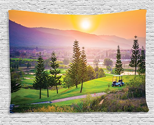 Ambesonne Nature Tapestry, Golf Resort Park in Spring Season with Trees Sunset Hills and Valley End of The Day, Wall Hanging for Bedroom Living Room Dorm, 60 W X 40 L Inches, Orange Green (Hill Outdoor Hanging Wall)