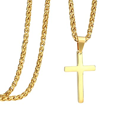 24 inch stainless steel gold cross pendant necklace franco chain 24 inch stainless steel gold cross pendant necklace franco chain amazon aloadofball Gallery