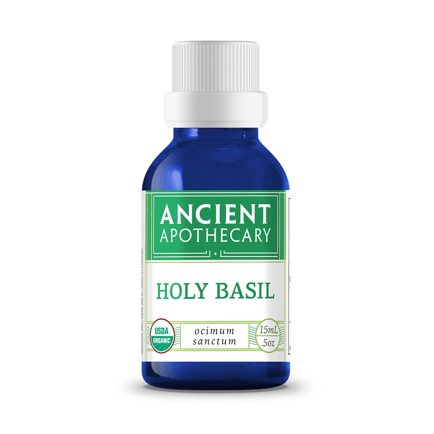 Holy Basil Organic Essential Oil from Ancient Apothecary, 15 mL - 100% Pure and Therapeutic Grade