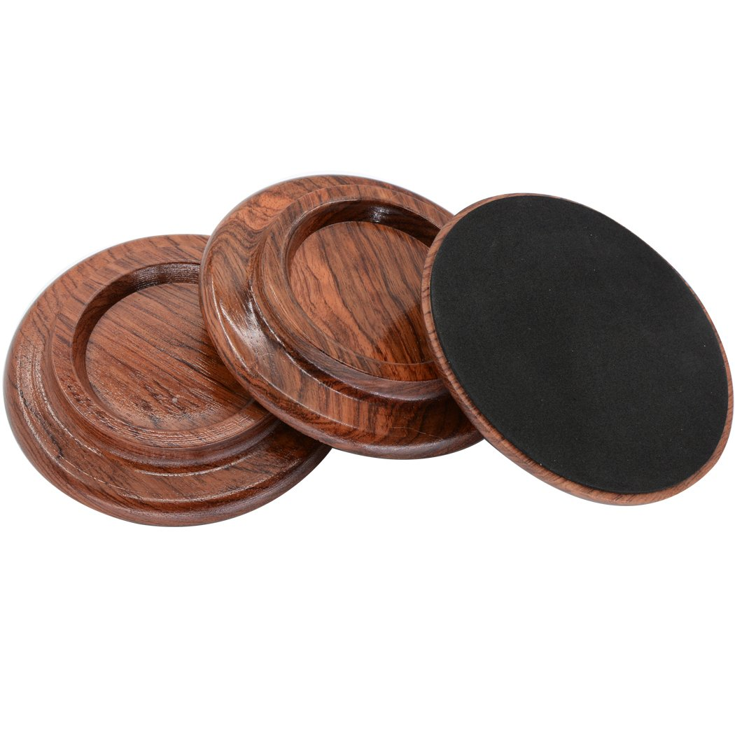 Grand Piano Caster Pads Black Piano Caster Cups Sound harbor PA-19 Hardwood Material set of 3 Piano Leg Pad Size 5.0x4.0x3.0 inch