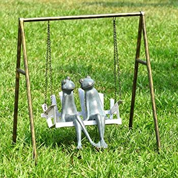 Frogs On Porch Swing Garden Statue