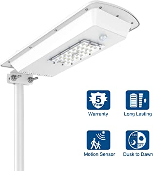 Bestqool 10 Watts 28-LED Motion Sensor Solar Street Light