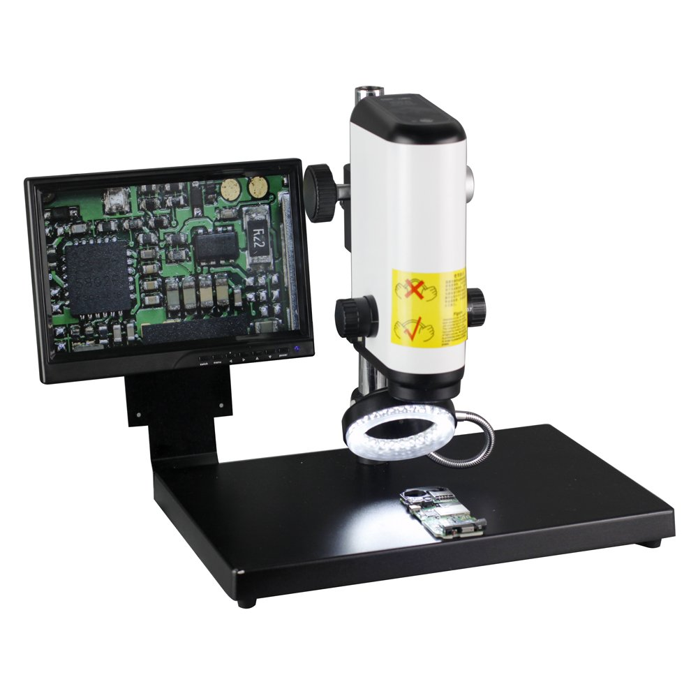 NEW 2.0MP HD Digital Industry Video Microscope Camera VGA Video Output With 10-Inch HD Screen & Table Stand & 60 LED Light For Industrial Component Repair Electronics Manufacturing Textile by Unknown