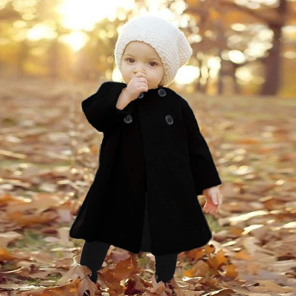 18-24 Months, Black Autumn Winter Baby Girls Warm Coat Front Button Outwear Jacket Long Cloak