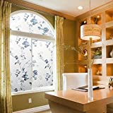 Lifetree Decorative Window Film for Privacy No Glue Cling for Home Bathroom Shower Office Room Glass Non-Adhesive Heat Control Anti Uv 17.7 78.7 inches (45 X 200cm)