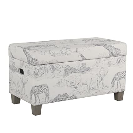 Outstanding Homepop K6407 A822 Youth Upholstered Storage Bench With Hinged Lid Small Grey Jungle Pattern Spiritservingveterans Wood Chair Design Ideas Spiritservingveteransorg