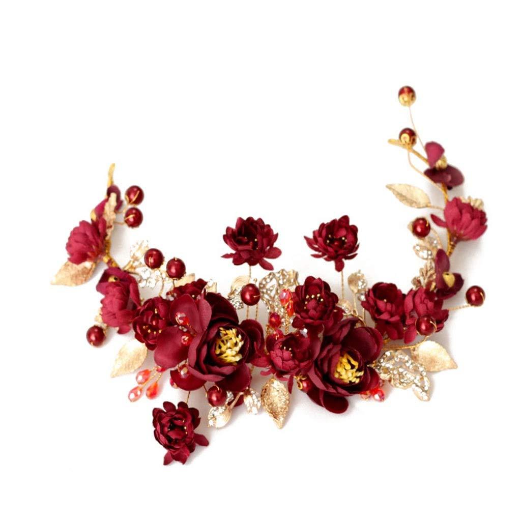 Wreath Flower Bride Crown Headband Headdress Retro Red Dinner Wedding Accessories
