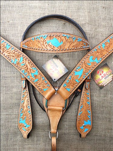 S07 HILASON WESTERN LEATHER HORSE BRIDLE HEADSTALL BREAST COLLAR TAN TURQUOISE