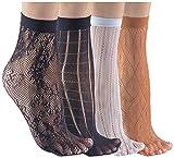 Felicity Sheer Ankle Socks, Fishnet Socks, Sheer Socks, Nylon Socks (Assorted C (4 Pack))