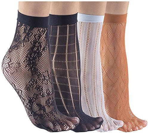 Felicity Sheer Ankle Socks, Fishnet Socks, Sheer Socks, Nylon Socks (Assorted C (4 Pack))