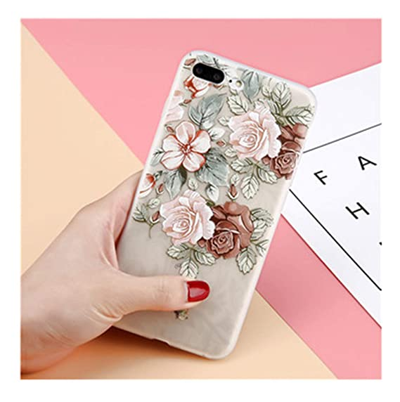 newest 36a93 df44a Amazon.com: 3D Flower Phone Case for iPhone 6 6s Plus Clear Rose ...