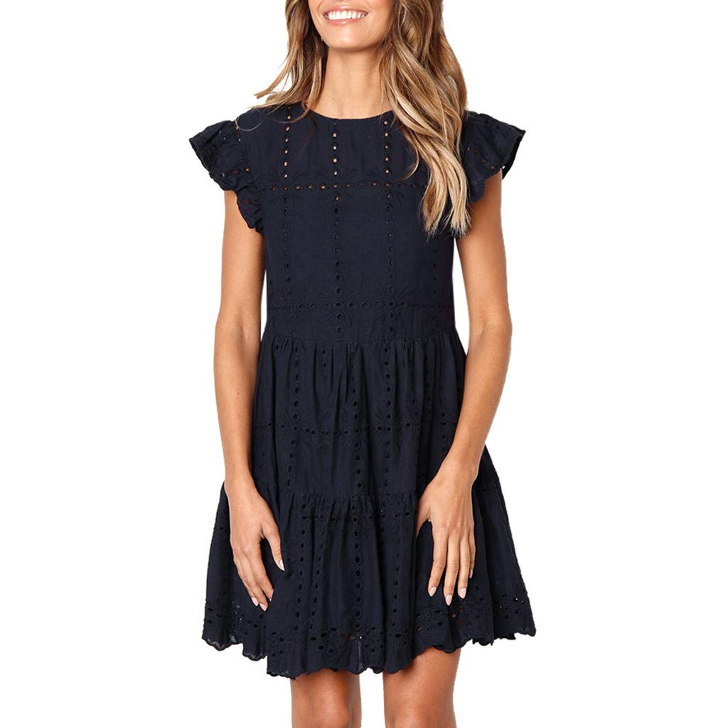 TIFENNY Crewneck A-Line Dress for Women Casual Ruffles Hem Sleeve Mini Dress Summer Hollow Out Ruched Dresses Navy