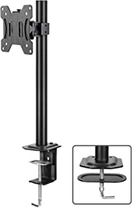 HUANUO Single Monitor Mount, LCD Computer Monitor Stand for13 inch to 32 inch Screen, Adjustable Height, Tilt, Swivel, Rotation, Weight up to 17.6lbs