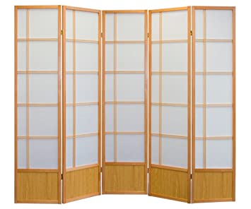 akio room divider screen nature 5 panel foldable privacy screen