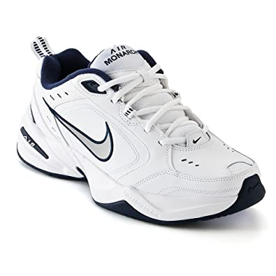 3c41cf58d384b NIKE Men's AIR Monarch IV (4E) Running Shoes -12; White/Metallic  Silver-Midnight Navy (9.5)