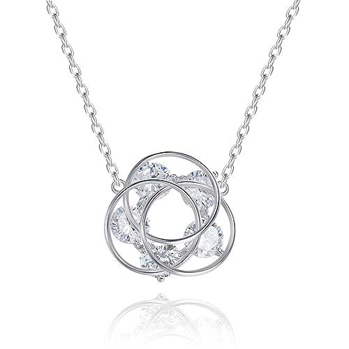 Han Lucky Stars 925 Sterling Silber Damen Kette Drei Ring-blumen Halskette  Zirkonia Stein Crystal 22ca6623df