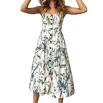 6389aead09c Janly Dress Woman Holiday Strappy Swing Dress for Ladies Maxi Printing  Buttons Pockets Dresses (S