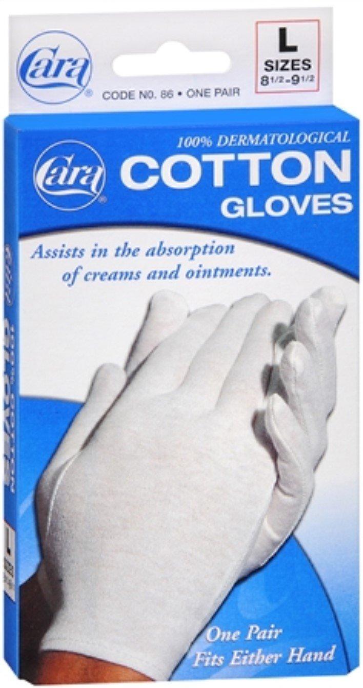 Cara Dermatological Cotton Gloves Men, Large 1 pair by Cara (Pack of 3)