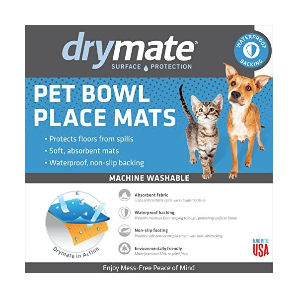 Drymate Pet Placemat, Dean Russo Designs, Dog Food Mat, Cat Food Mat, Zorb-Tech Anti Flow Technology for Surface Protection (USA Made) 4