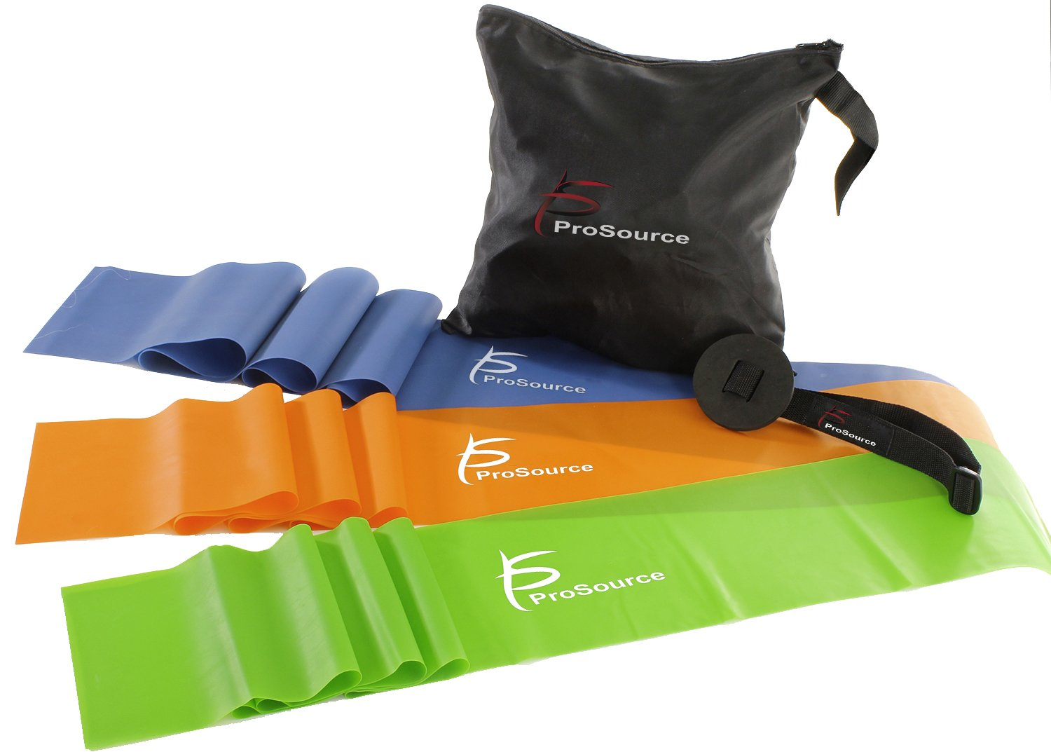 ProSource Therapy Flat Resistance Bands Set of 3 (6' each-Extra Long) for Stretching, Pilates, and Rehabilitation with Door Anchor