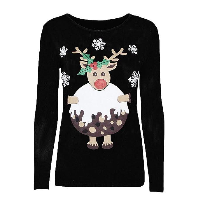 Camisetas ☆Rovinci☆ Mujer Manga Larga Originales para Navidad Personalidad Carta Reno Elk Impresión Cuello Redondo Moda Casual Tops Pullover Blusa ...