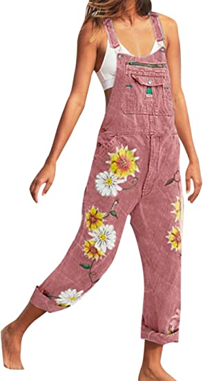 Women Casual Denim Jumpsuits Rompers Floral Bib Jeans Playsuit Overalls Pink M Amazon Ca Clothing Accessories