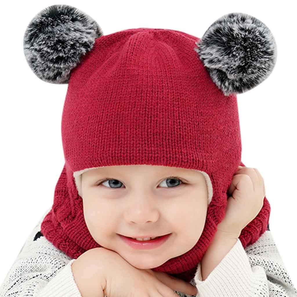 Little Kid Winter Warm Hat,Jchen(TM) Kid Baby Boy Girl Hooded Scarf Caps Hat Winter Warm Knit Flap Cap Scarf Hairball Cap for 2-7 Years Old (Wine)