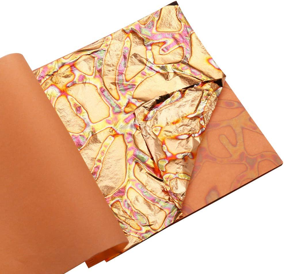 Variegated Gold Leaf Sheets 25 Sheets per Booklet 5.51 by 5.51 Inches Type 1 KINNO Multiple Types of Metal Leaf Papers with Patterns for Art /& Crafts Decorations