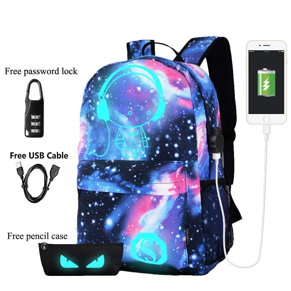 Luminous Backpack with USB Charging Port and Anti-Theft Lock & Pencil Case, Sky Anime Cartoon Unisex Casual School Daypack Bookbag Travel Laptop Backpack