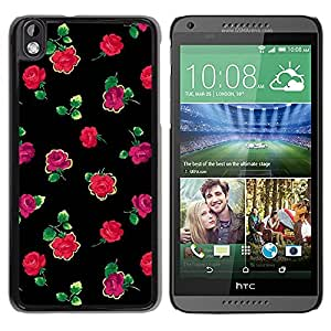 Paccase / SLIM PC / Aliminium Casa Carcasa Funda Case Cover para - Roses Black Green Pink Minimalist - HTC DESIRE 816