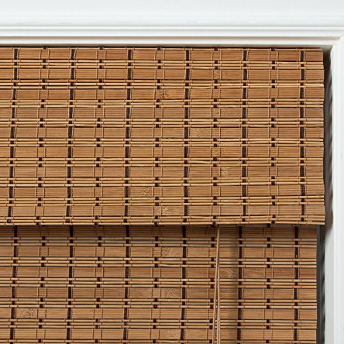 1 Piece 71''Wx74''L Brown Grain Ochre Tan Natural Wood Pull Up Bamboo Blind Home Decor Rustic Roman Shade Horizontal Slat Elegant Beautiful Perfect Fit Nature Window Treatment Allows Gentle Sunlight by PH (Image #2)