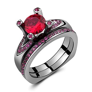 caperci black 925 sterling silver round created ruby wedding engagement ring bridal set size 5 - Ruby Wedding Ring Sets