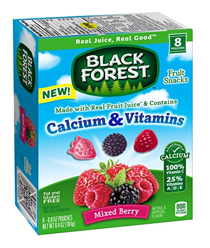 Black Forest Calcium & Vitamin Fruit Snacks, Mixed Berry, 0.8 Ounce Bag, Pack of (Black Forest Fruit Snacks Ingredients)