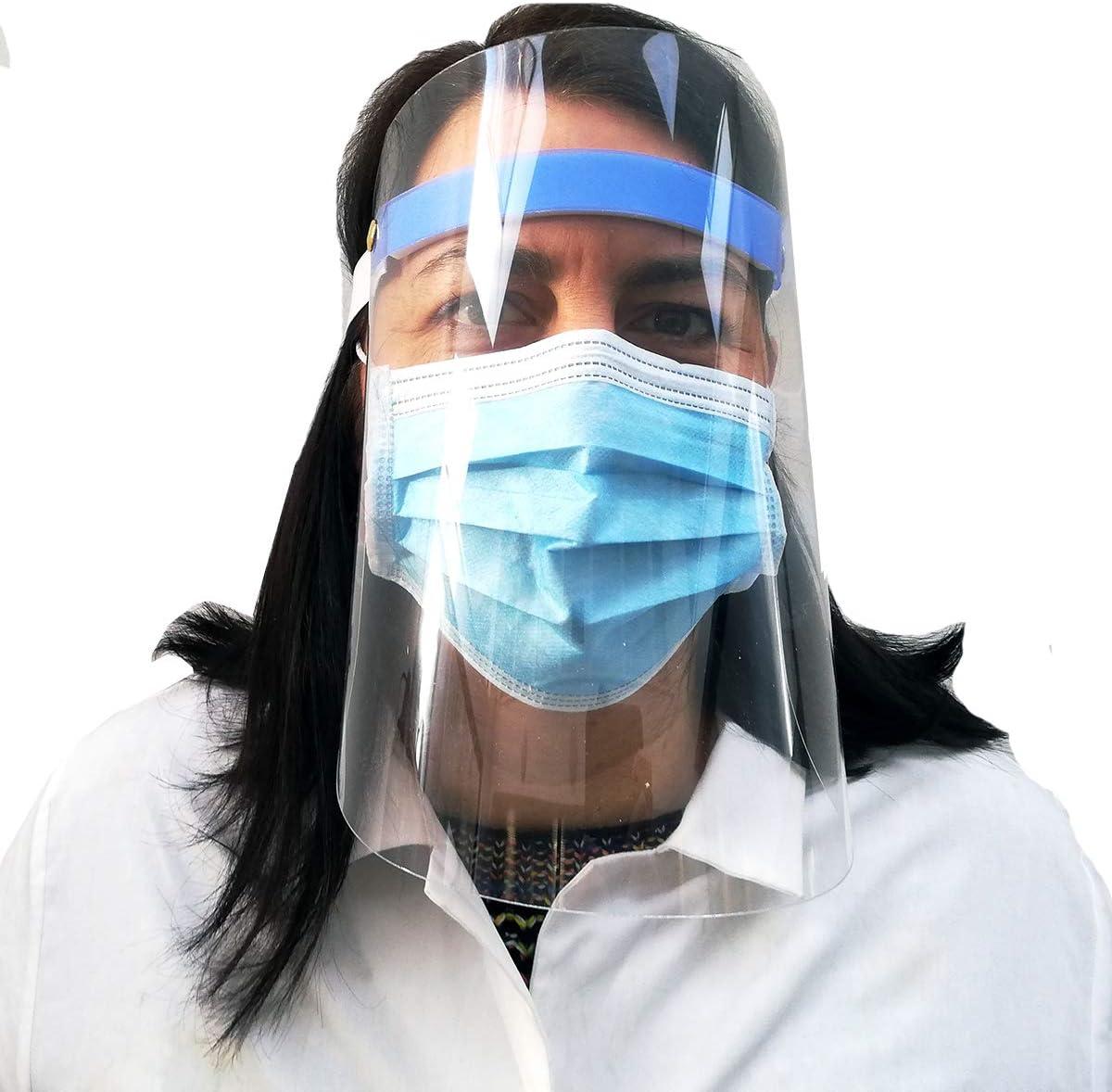 Visiera protettiva plastica trasparente protegge occhi da spruzzi e goccioline