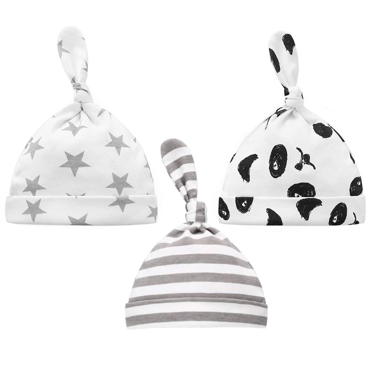 Baby Hats Newborn Cotton Unisex Baby Girls Boys Beanie Caps 3pcs