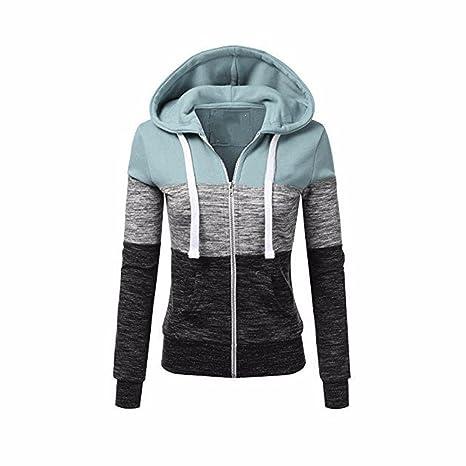 Newbestyle Jacke Damen Sweatjacke Hoodie Sweatshirt Pullover Oberteile Kapuzenpullover V Ausschnitt Patchwork Pulli mit Korde