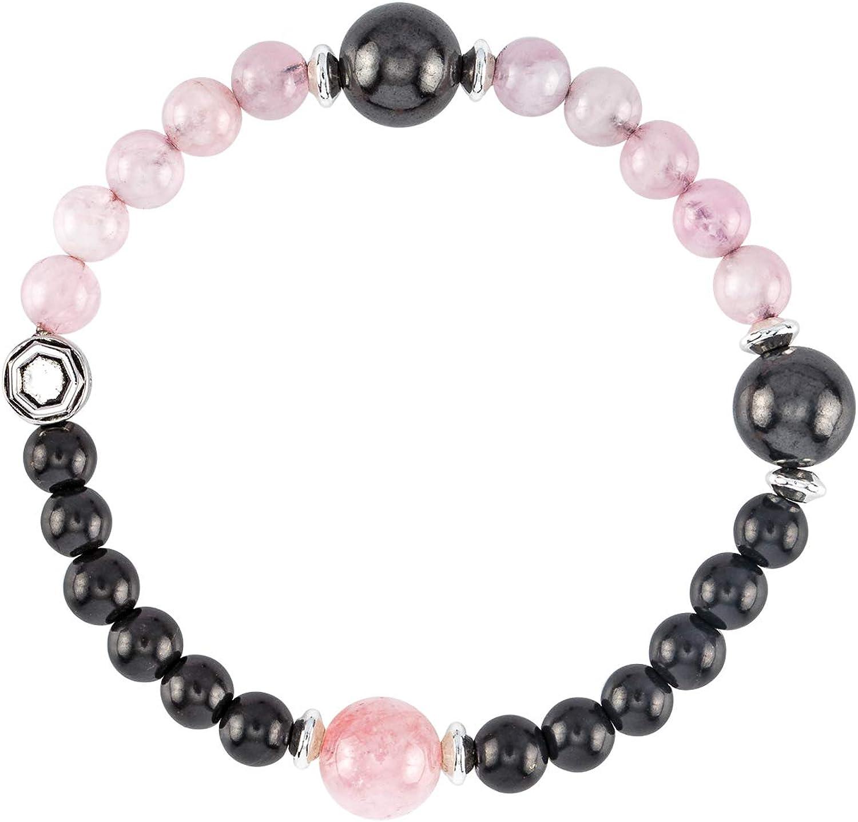 Gemstone Rose Quartz Bracelet Silver Simple Cuff Style Jewelry Women/'s