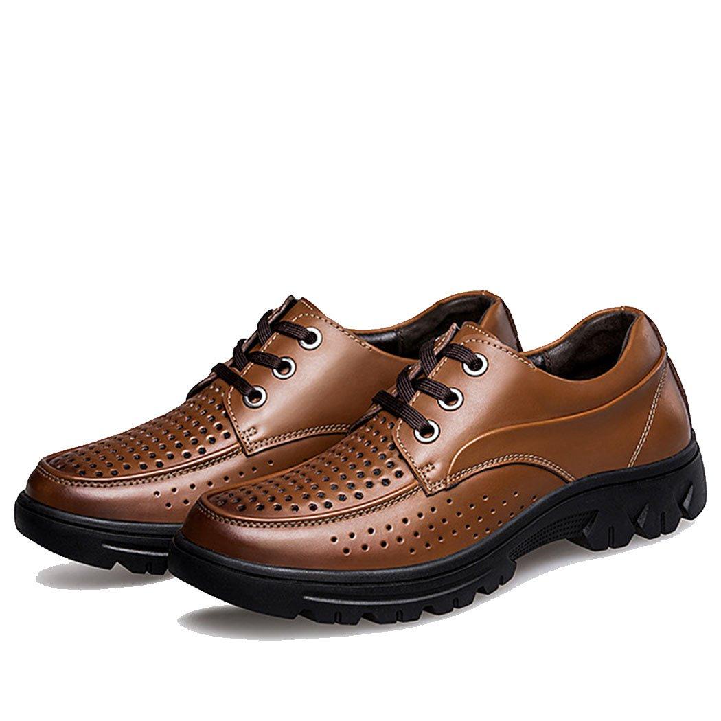 GAOLIXIA Zapatos de cuero de los hombres zapatos de verano huecos transpirables zapatos formales sandalias ocasionales con cordones zapatos de vestir para fiesta ocasional de gran tamaño37-50 43|Marrón