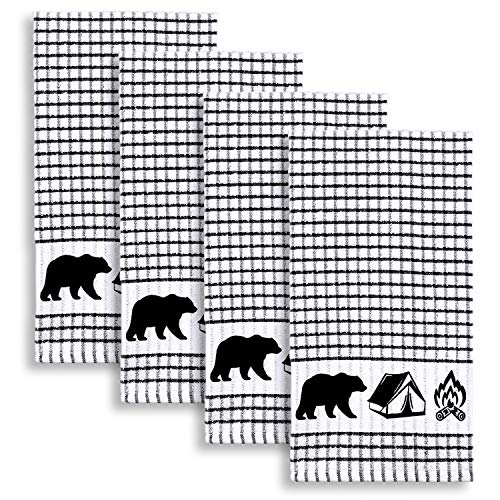 Cackleberry Home Wilderness Camping Windowpane Check Cotton Terrycloth Kitchen Towels, Set of 4 (Black) ()