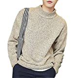 OnIn Solid Sweater Men Half-Turtleneck Collar Long Sleeve Pullover Sweaters Knitted Sweaters M-XXXL KhakiLarge